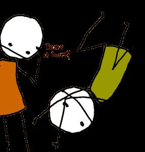 Stick figure falling