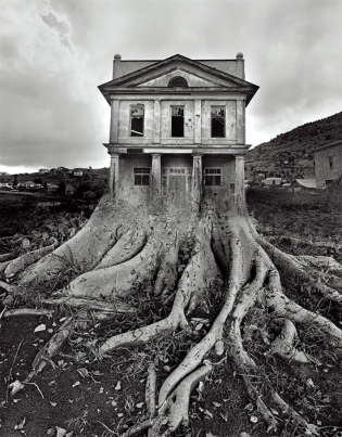 Art is by Jerry Uelsmann Untitled (House with Roots), 1982  (photo available at artnet.com)